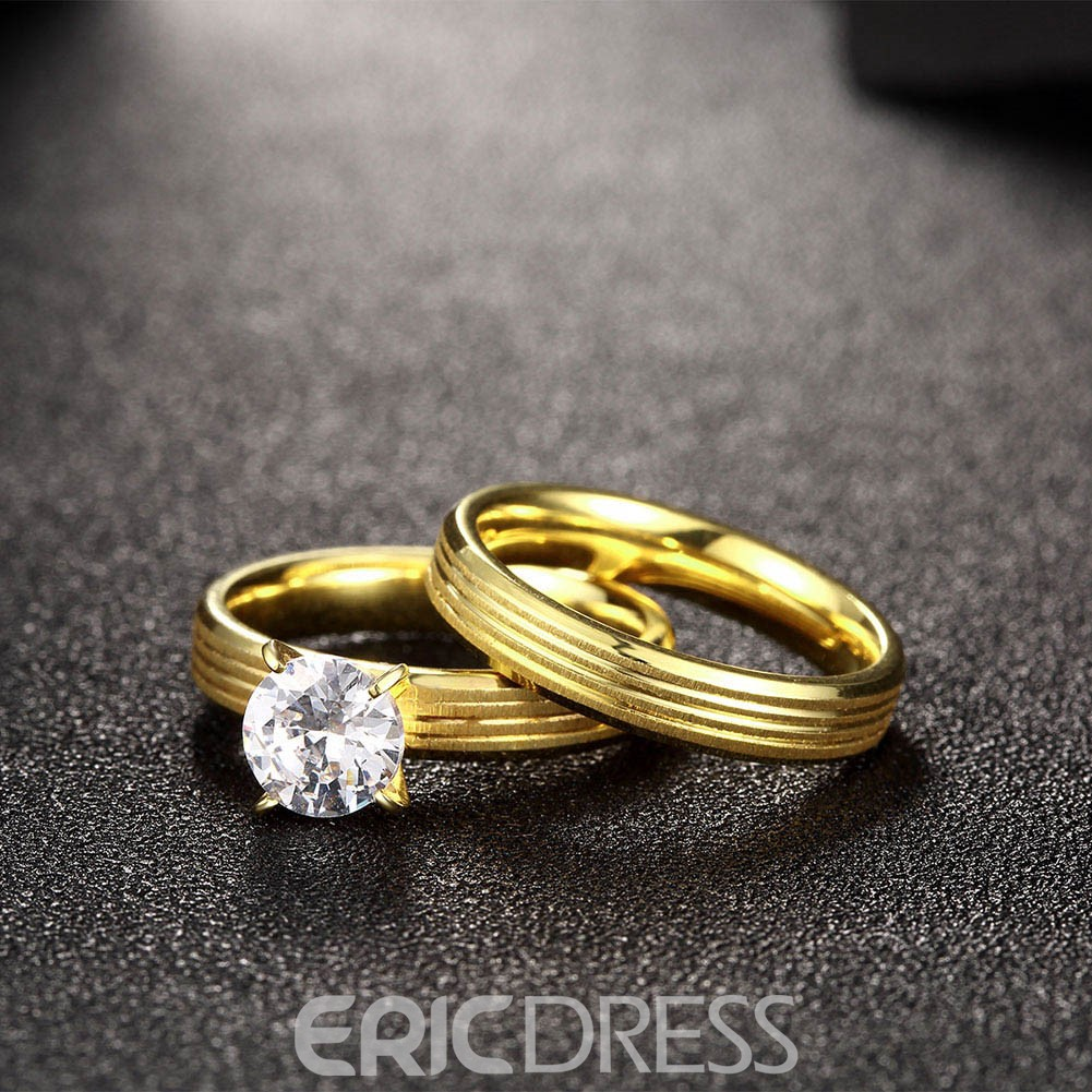 Ericdress Gpld Plated White Sapphire Inlay Wedding Ring