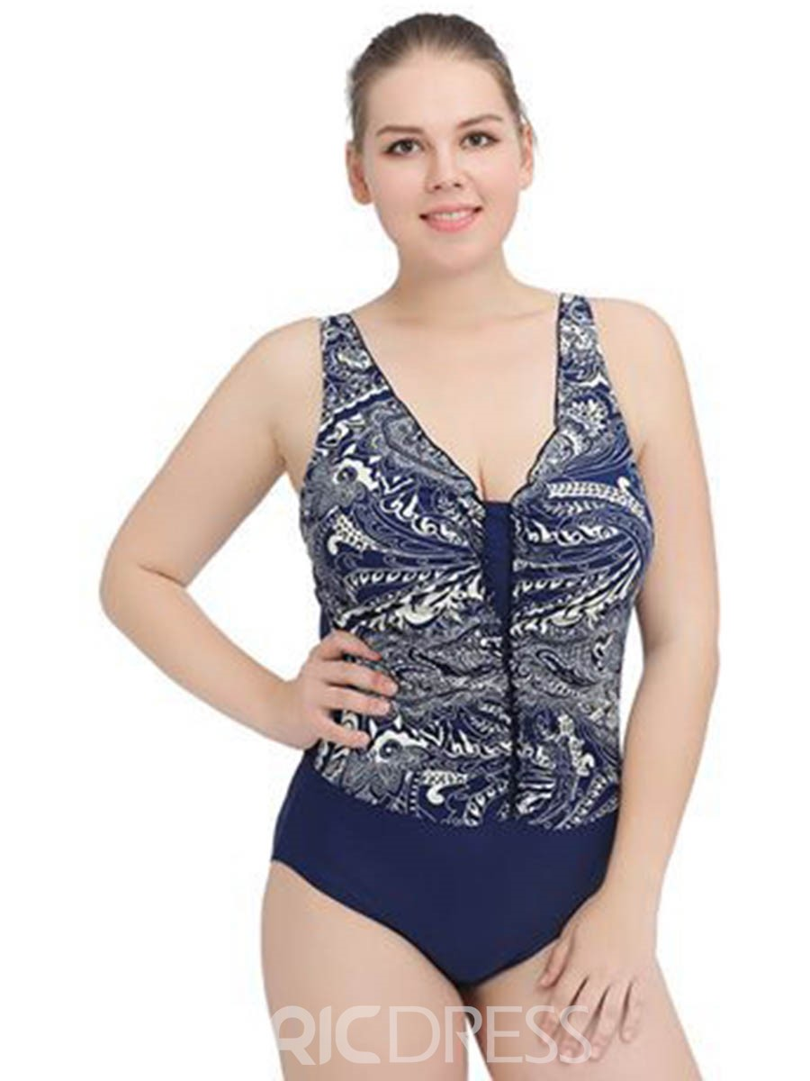 Ericdress V-neck Gather Chest Print Plus Size Swimwear