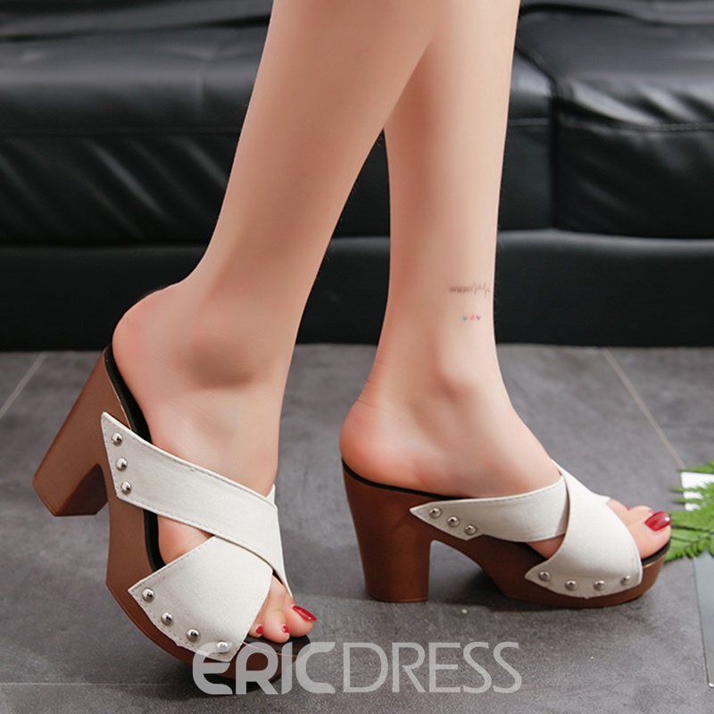 Ericdress Concise Rivets Decrated Mules Shoes