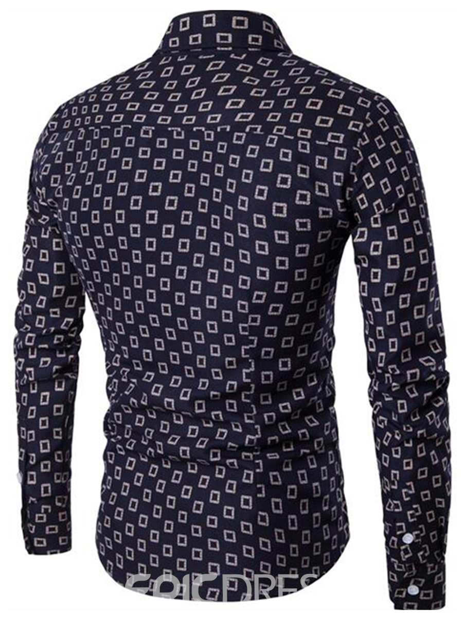 Ericdress Long Sleeve Print Single-Breasted Slim Fit Men's Shirt