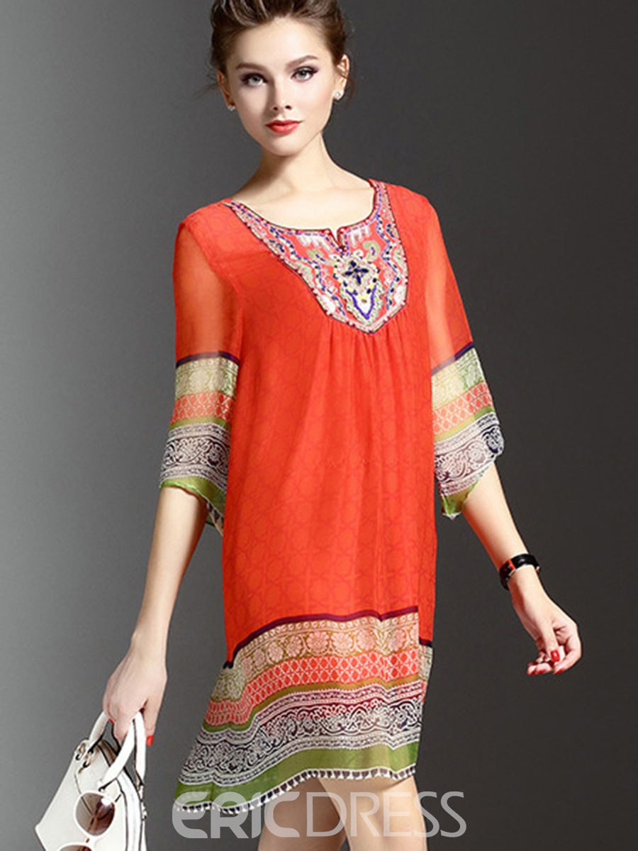 Ericdress Ethnic Soft Chiffon Print Casual Dress
