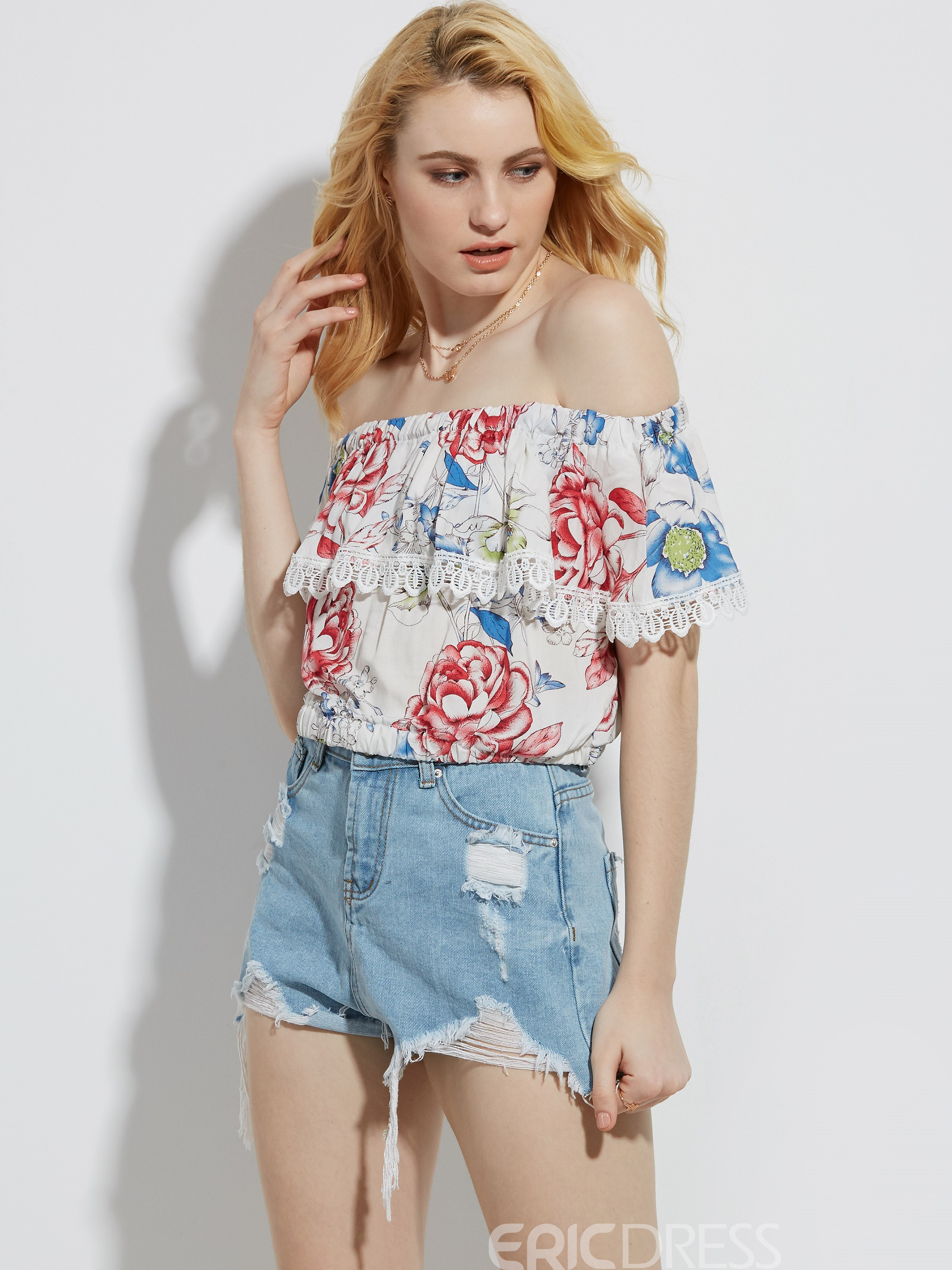 Ericdress Slash Neck Flower Print Lace Patchwork Blouse