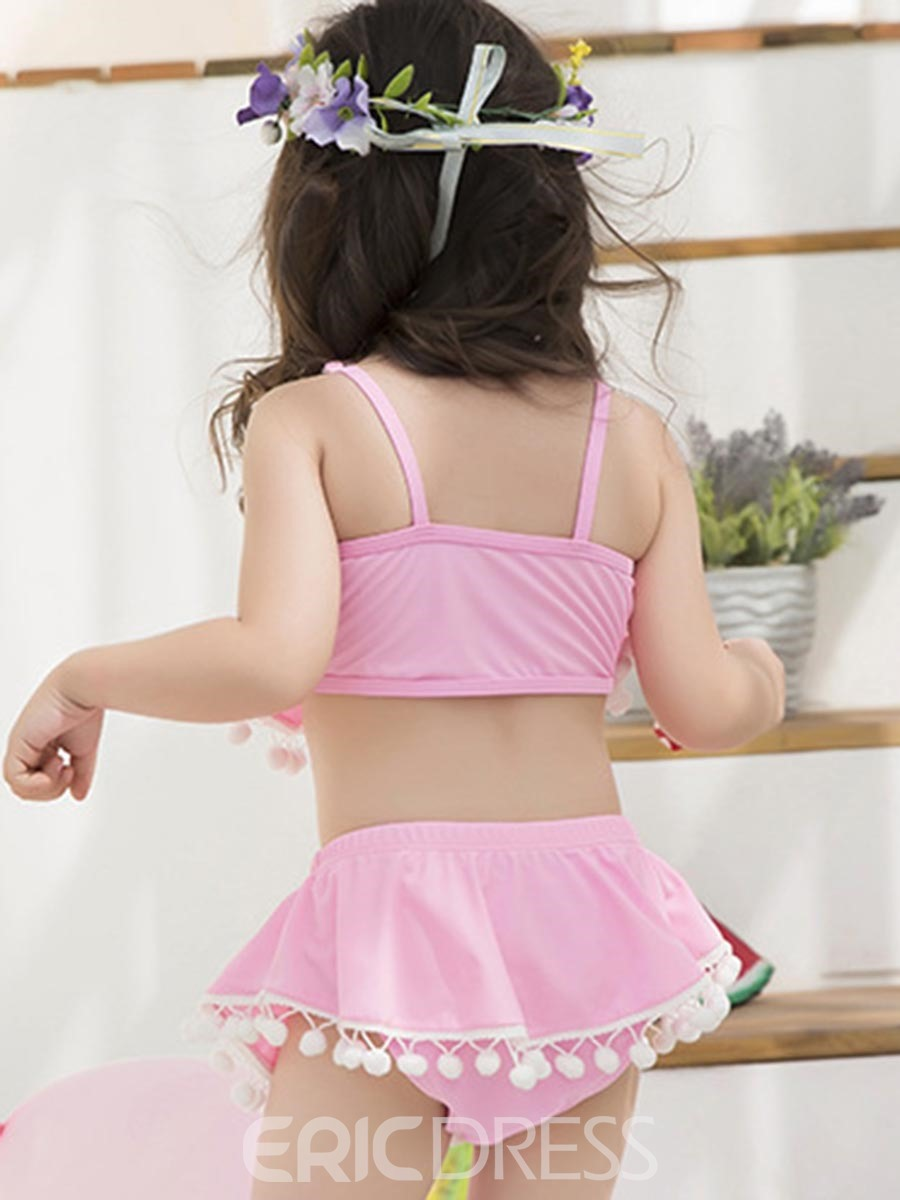 Ericdress Tassel Ball Falbala Bowknot Girls Bikin Set