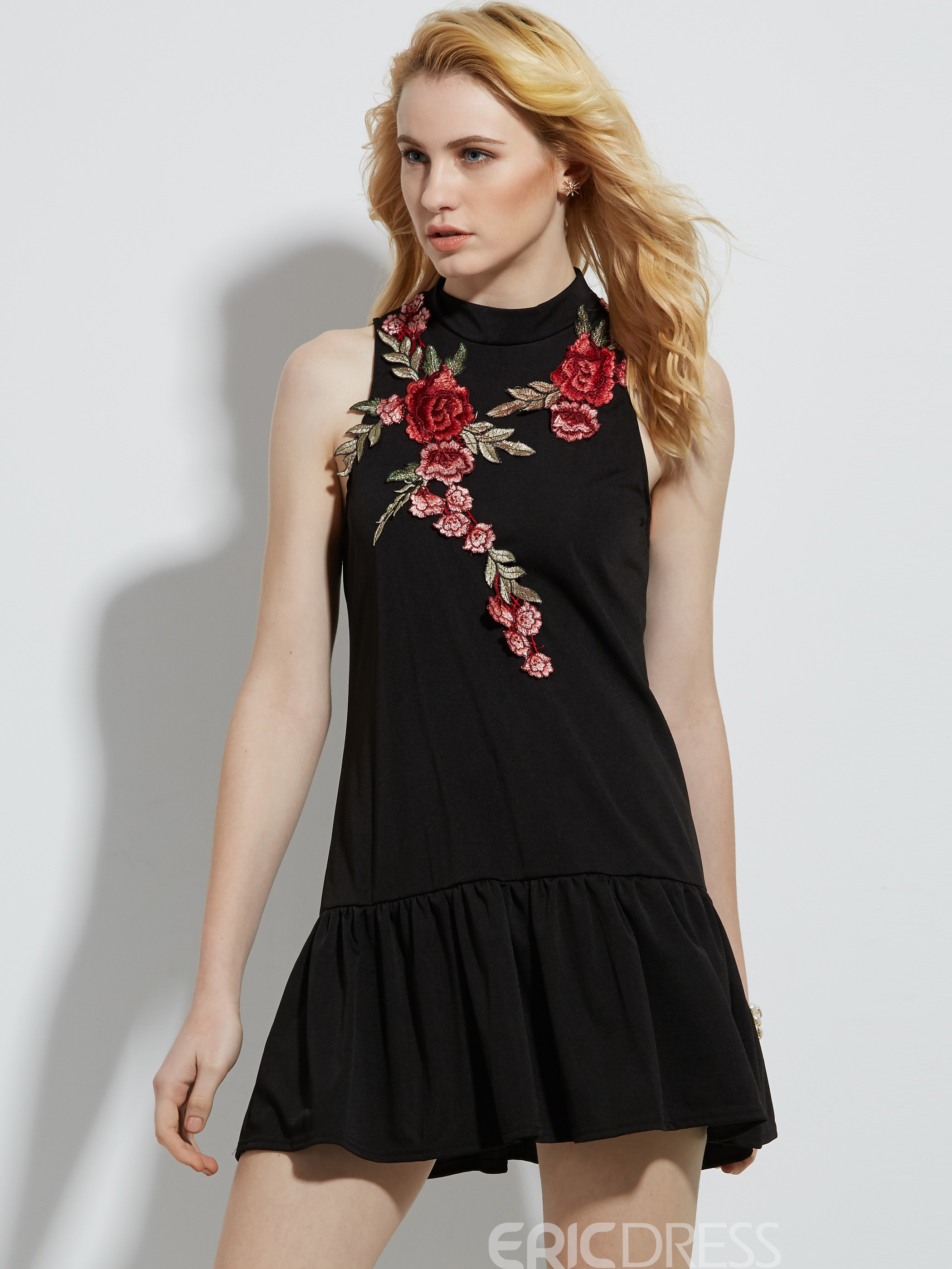 Ericdress Floral Embroidery Sleeveless A-Line Dress