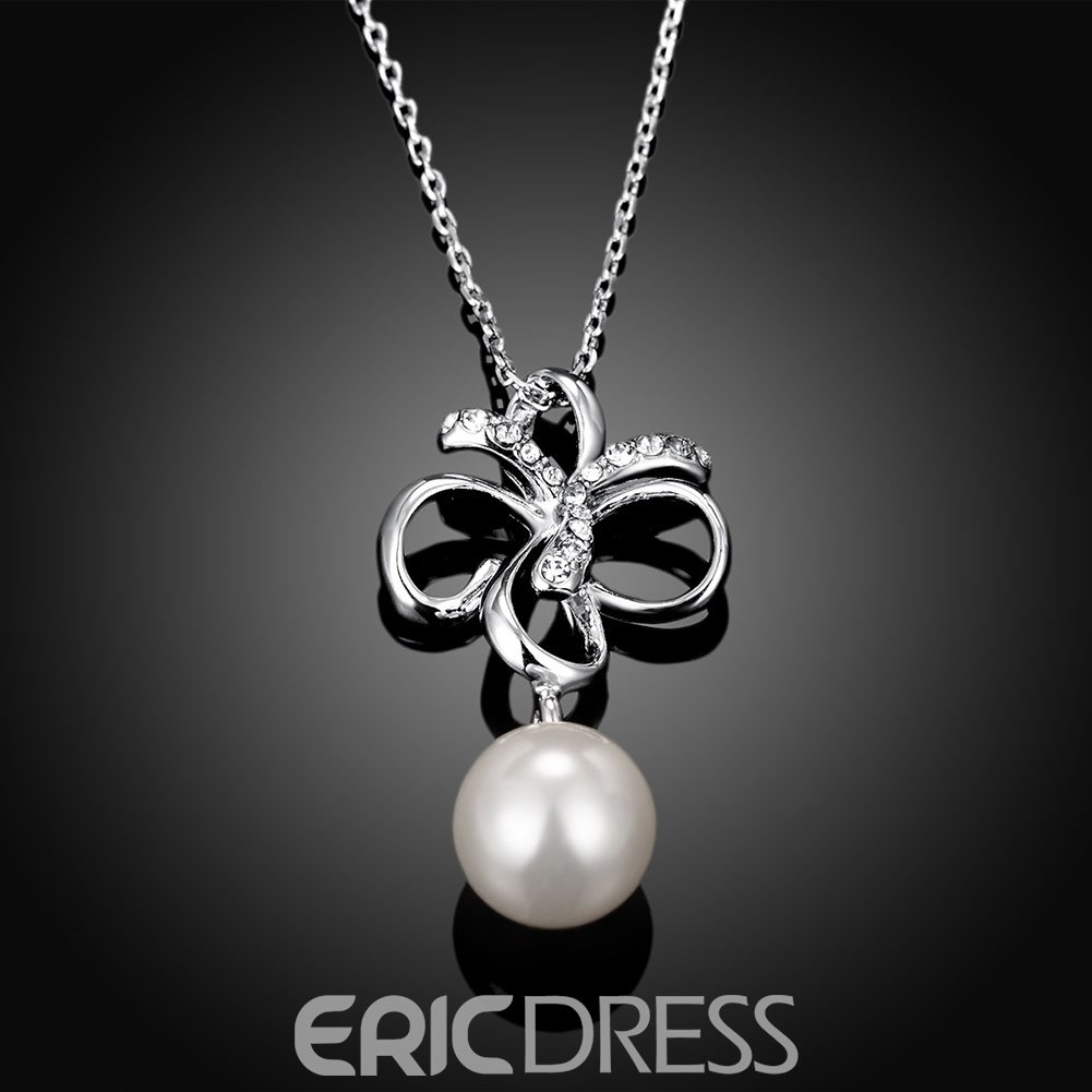 Ericdress Elegant Butterfly Pearl Pendant Necklace