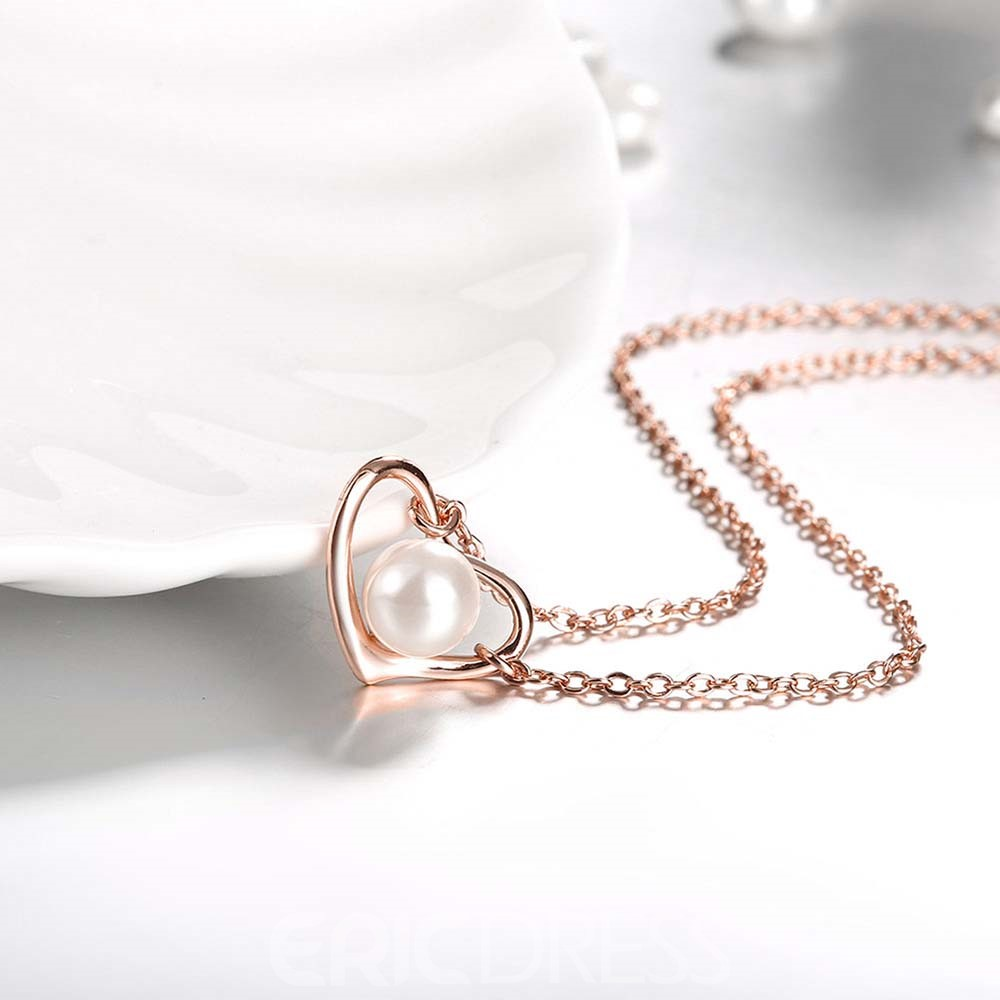 Ericdress Graceful Heart Pearl Necklace