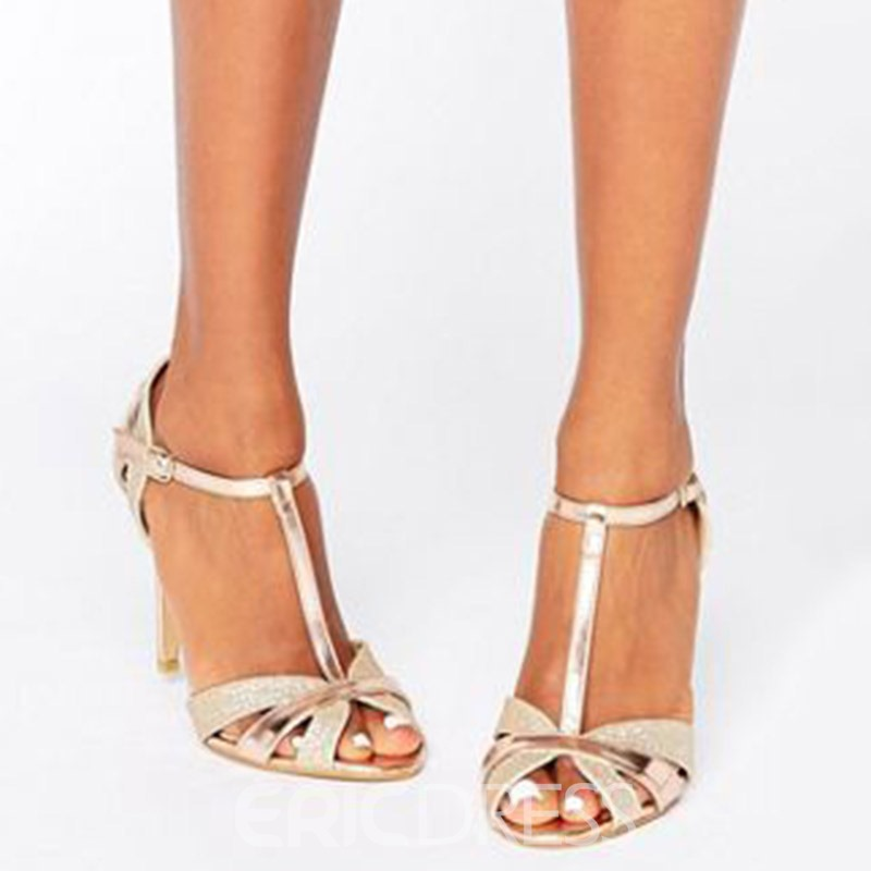 Ericdress T-Shaped Buckle Stiletto Heel Sandals