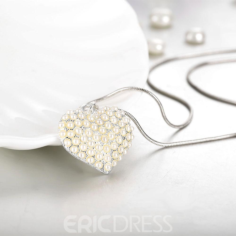 Ericdress Romantic Heart Pendant Pearl Necklace
