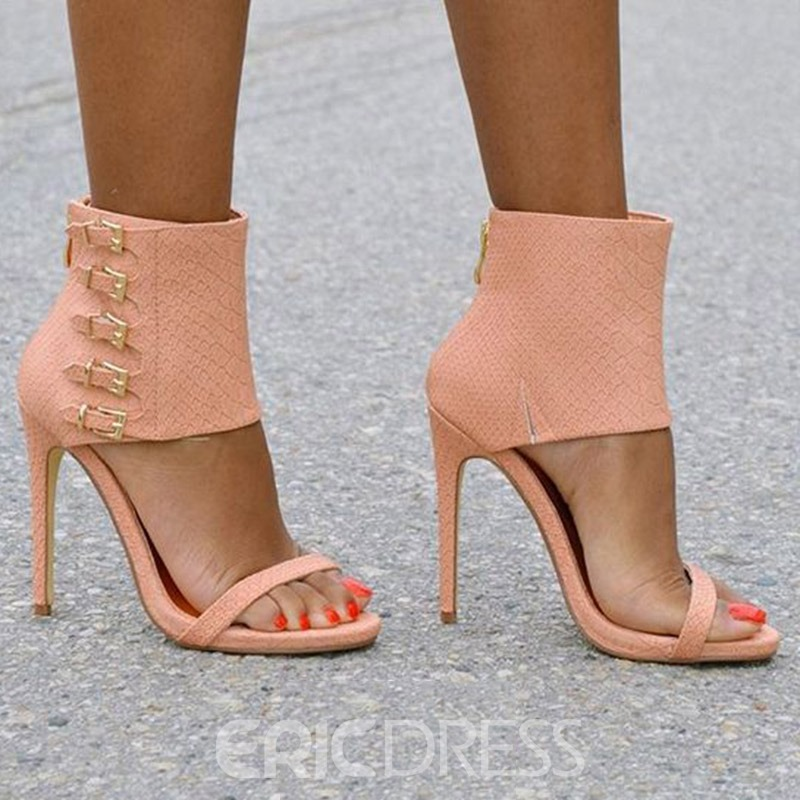 Ericdress Buckle Zipper Stiletto Heel Sandals