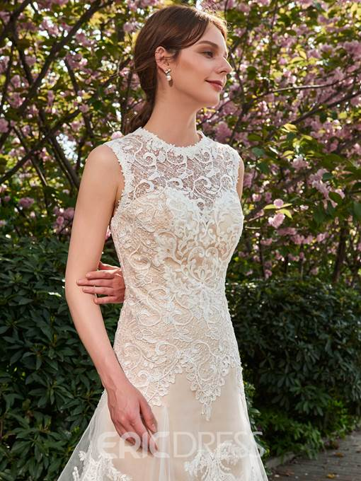 Ericdress A-Line Mesh Lace Tulle Jewel Neck Wedding Dress