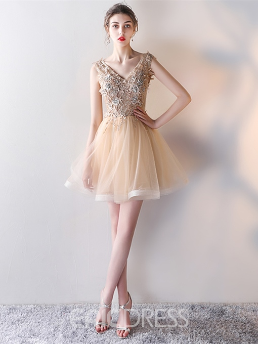 Ericdress Short A Line Applique Beaded Homecoming Dress With Lace-Up Back