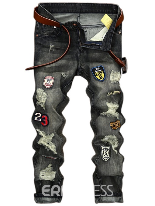 Ericdress Straight Denim Holes Medal Patched Unique Men's Pants