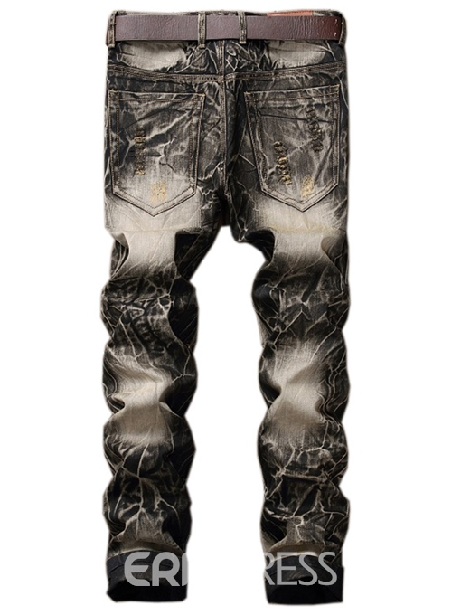 Ericdress Street Style Casual Embroidery Denim Men's Pants