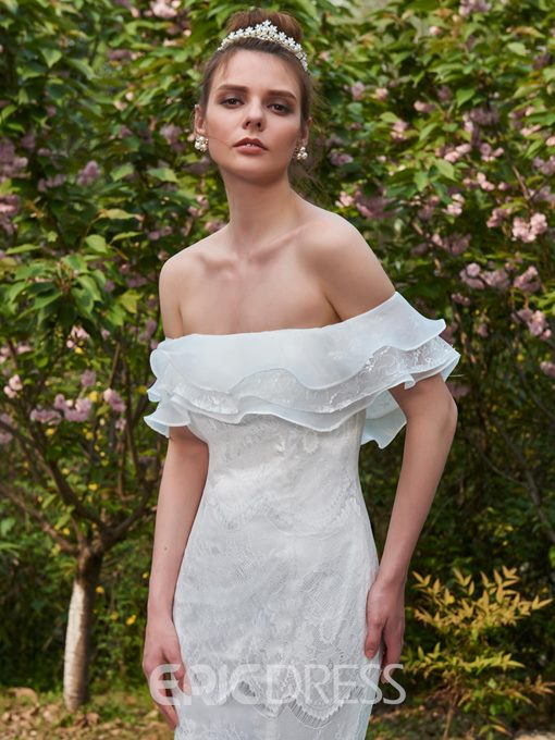 Ericdress Mermaid Lace Off The Shoulder Wedding Dress