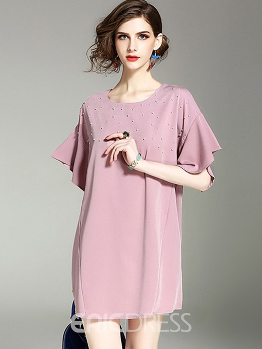 Ericdress Petal Sleeve Solid Color Bead Casual Dress