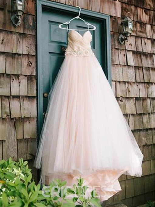 Ericdress Ruched Strapless Beading High Low Wedding Dress