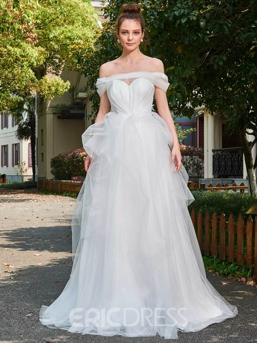 Ericdress Elegant Long Tulle Off Shoulder Wedding Dress