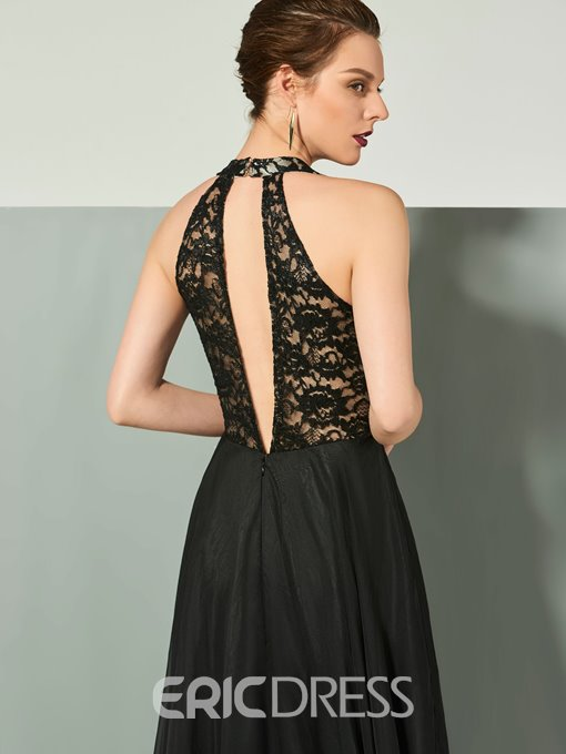 Ericdress A Line Halter Backless Lace Chiffon Evening Dress