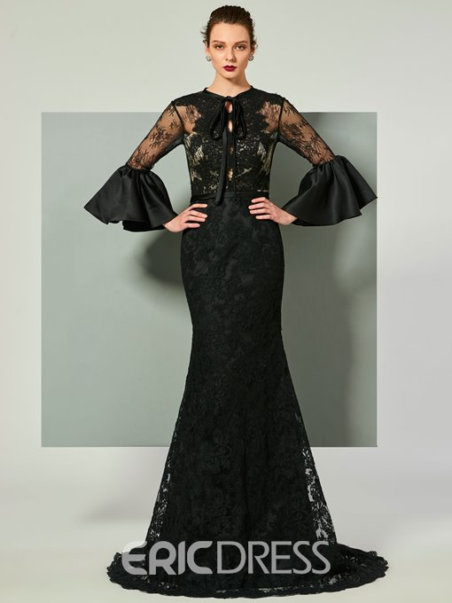 Ericdress Long Sleeve Mermaid Lace Evening Dress With Court Train