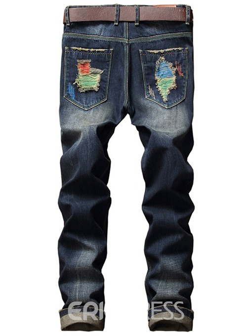 Ericdress Denim Holes Unique Paint Casual Men's Pants