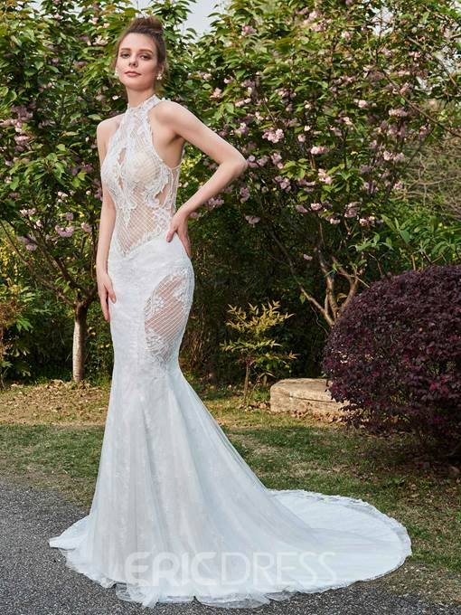 Ericdress Mermaid Halter Mesh Lace Hollow Wedding Dress