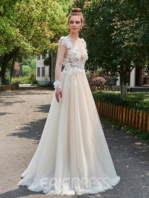 Ericdress A-Line Long Sleeves Illusion Lace Applique Wedding Dress