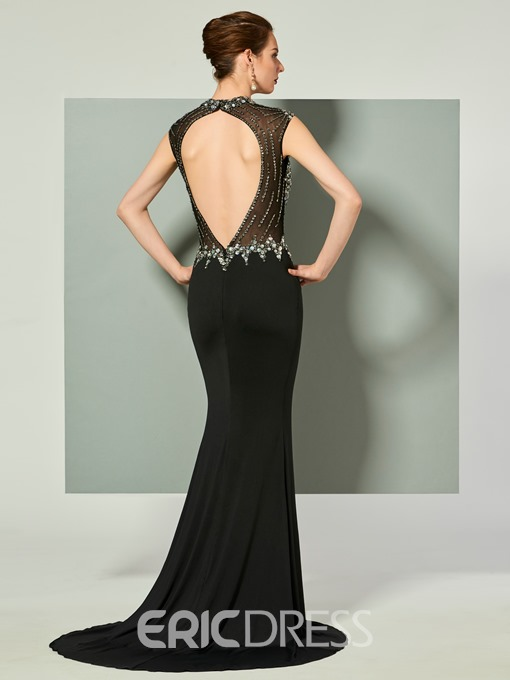 Ericdress High Neck Beaded Mermaid Evening Dress With Open Back