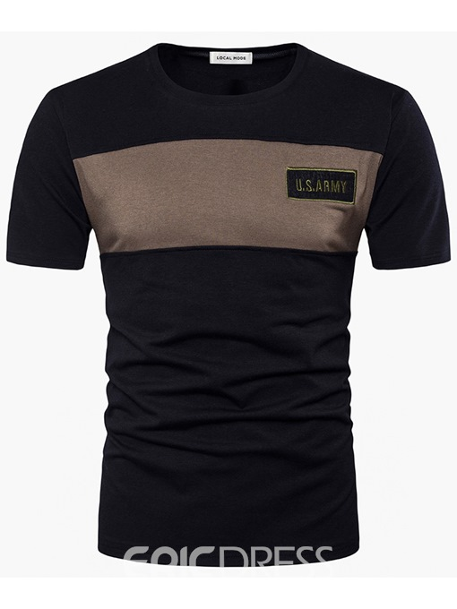 Ericdress Short Sleeve Vogue Patched Men's T-Shirt