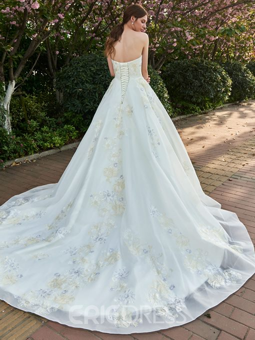 Ericdress Tulle Sleeveless Sweetheart Colorful Applique A-Line Wedding Dress