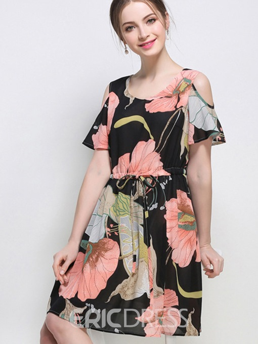 Ericdress Print Off-The-Shoulder Drawstring Casual Dress