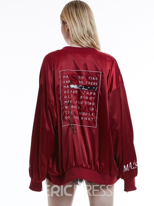 Ericdress Stand Collar Letter Embroidery Zipper Jacket