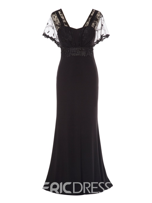 Ericdress V-Neck Short Sleeves Lace Evening Dress