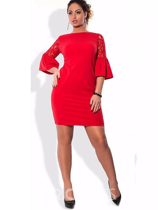 Ericdress Solid Color Bell Sleeve Hollow Bodycon Dress