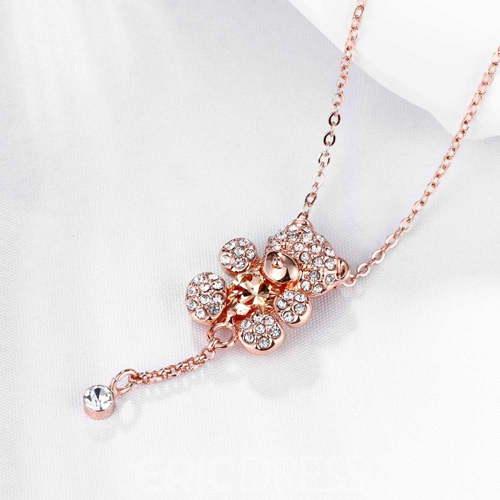 Ericdress Cute Bear Pendant Diamante Necklace for Women