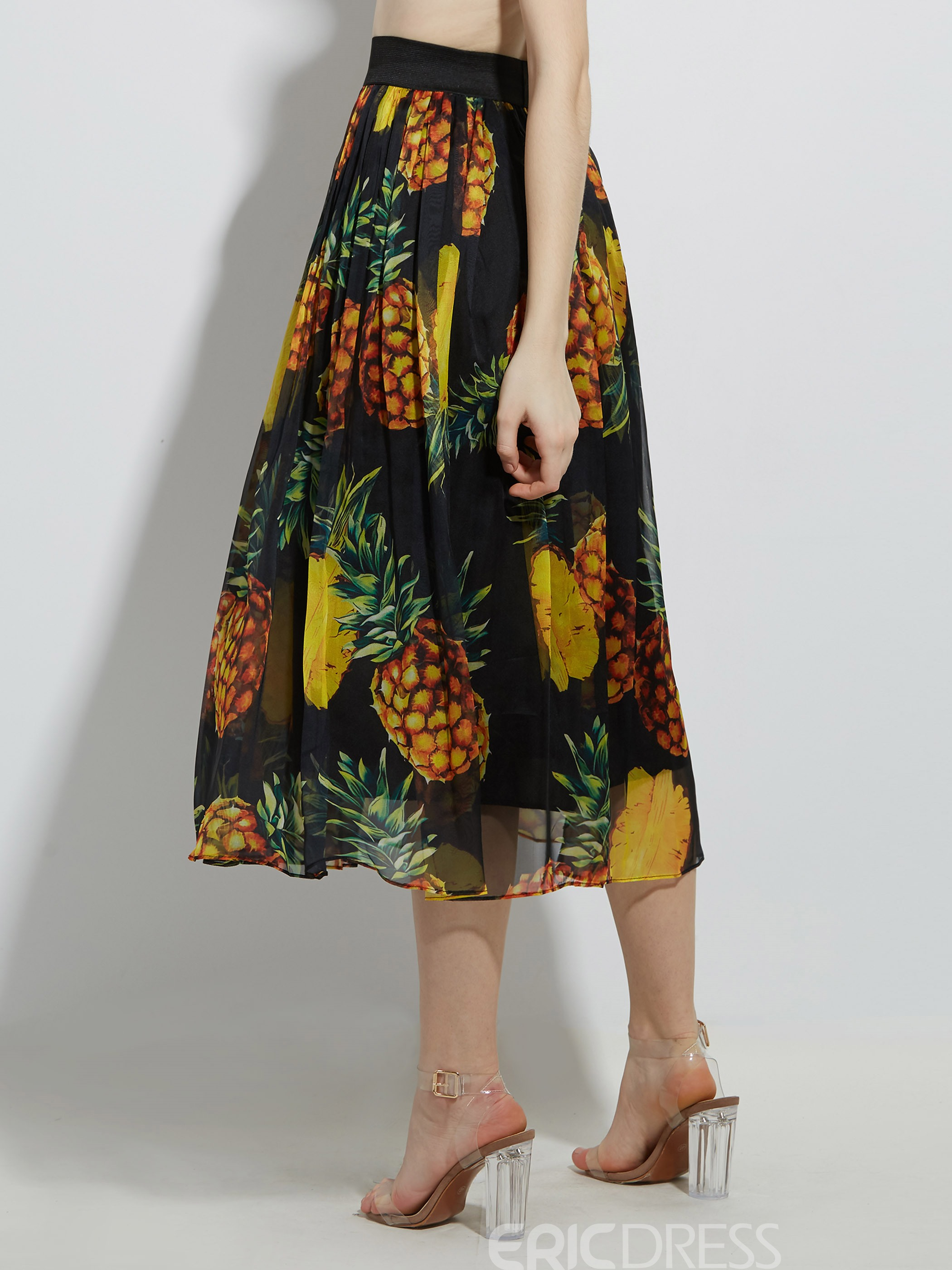 High-Waist Pineapple Print Pleated Women's Skirt