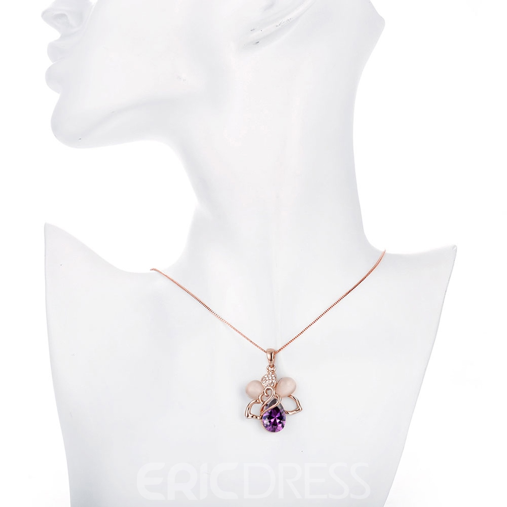 Ericdress Creative Bee Pendant Ultra Violet Rhinestone Necklace