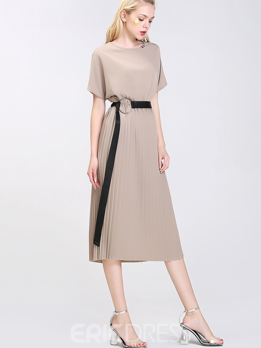 Ericdress Plain Pleated Short Sleeve Chiffon Sheath Dress