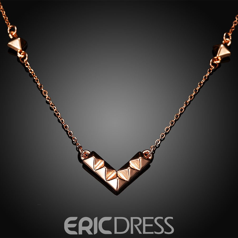 Ericdress V-Shape Pyramid Rose Gold Necklace