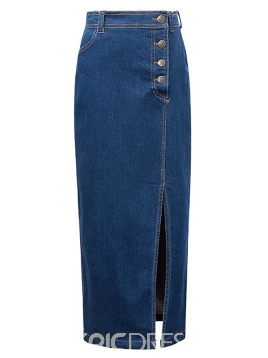 Ericdress High Waisted Denim Straight Women's Skirts