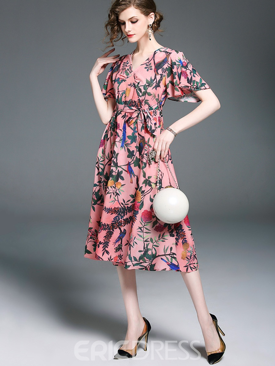 Ericdress FloralFlare Sleeve Lace-Up Casual Dress