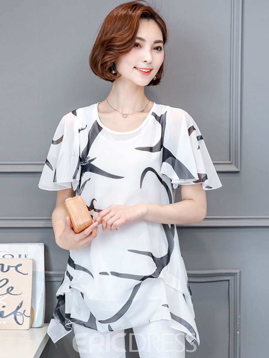 Ericdress Casual Printed Loose Blouse