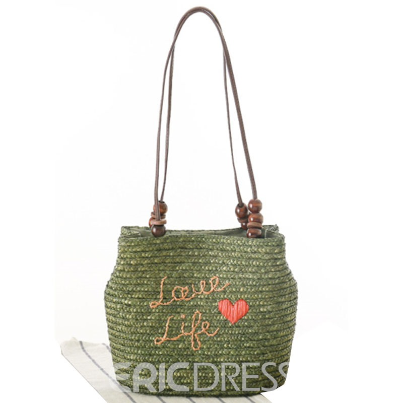 Ericdress Soft Letter Knitted Straw Shoulder Bag