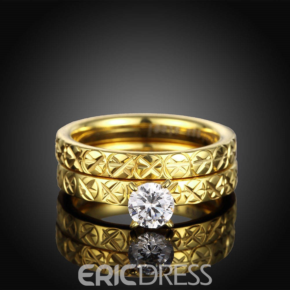 Ericdress Creative Titanium Steel Women's Double Layer Wedding Ring