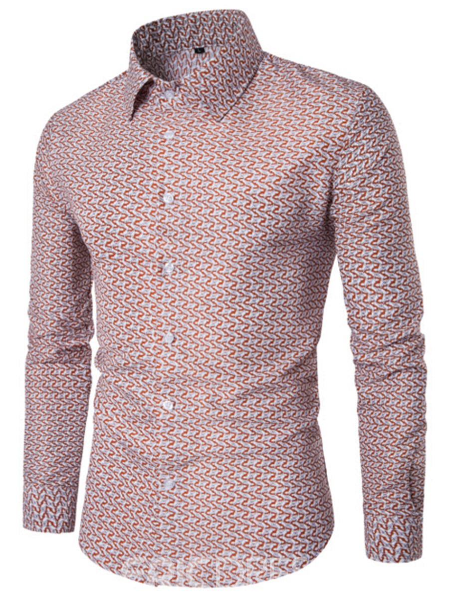 Ericdress Print Single-Breasted Long Sleeve Slim Men's Shirt