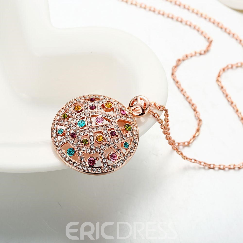 Ericdress Round Cut Created Colored Sapphire Pendant Necklace