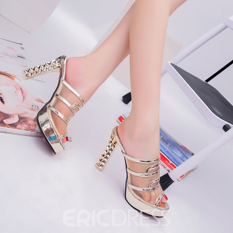 Ericdress Sexy Mesh Patchwork Peep Toe Mules Shoes