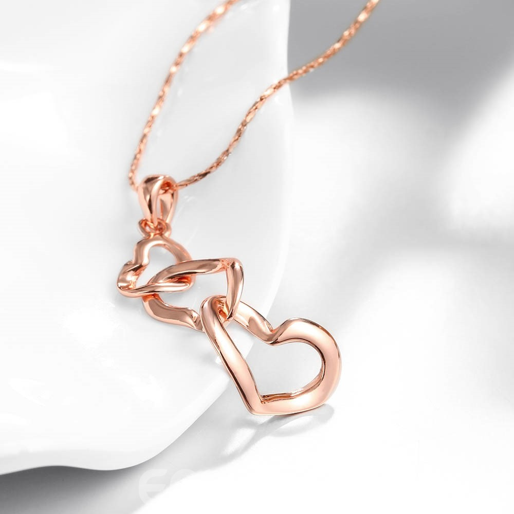 Ericdress Sweet Three-Heart Pendant Rose Gold Necklace