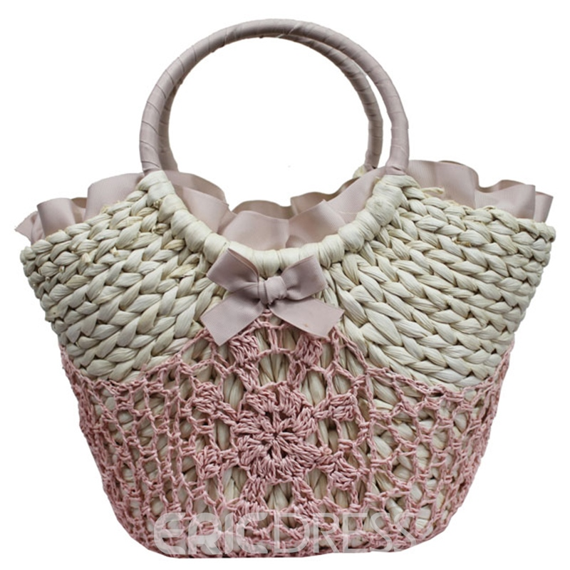 Ericdress Casual Bowknot Crochet Straw Handbag