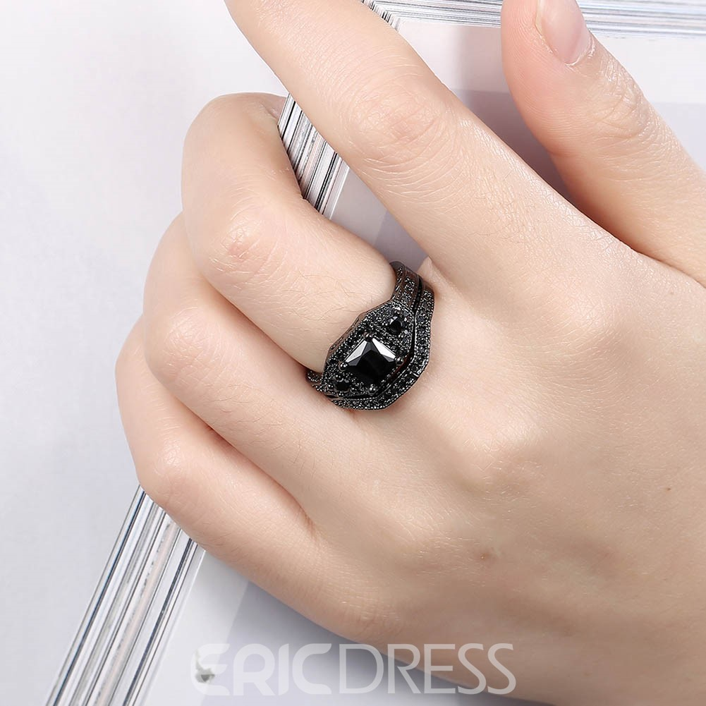 Ericdress Black Sapphire Inlay Charming Black Ring