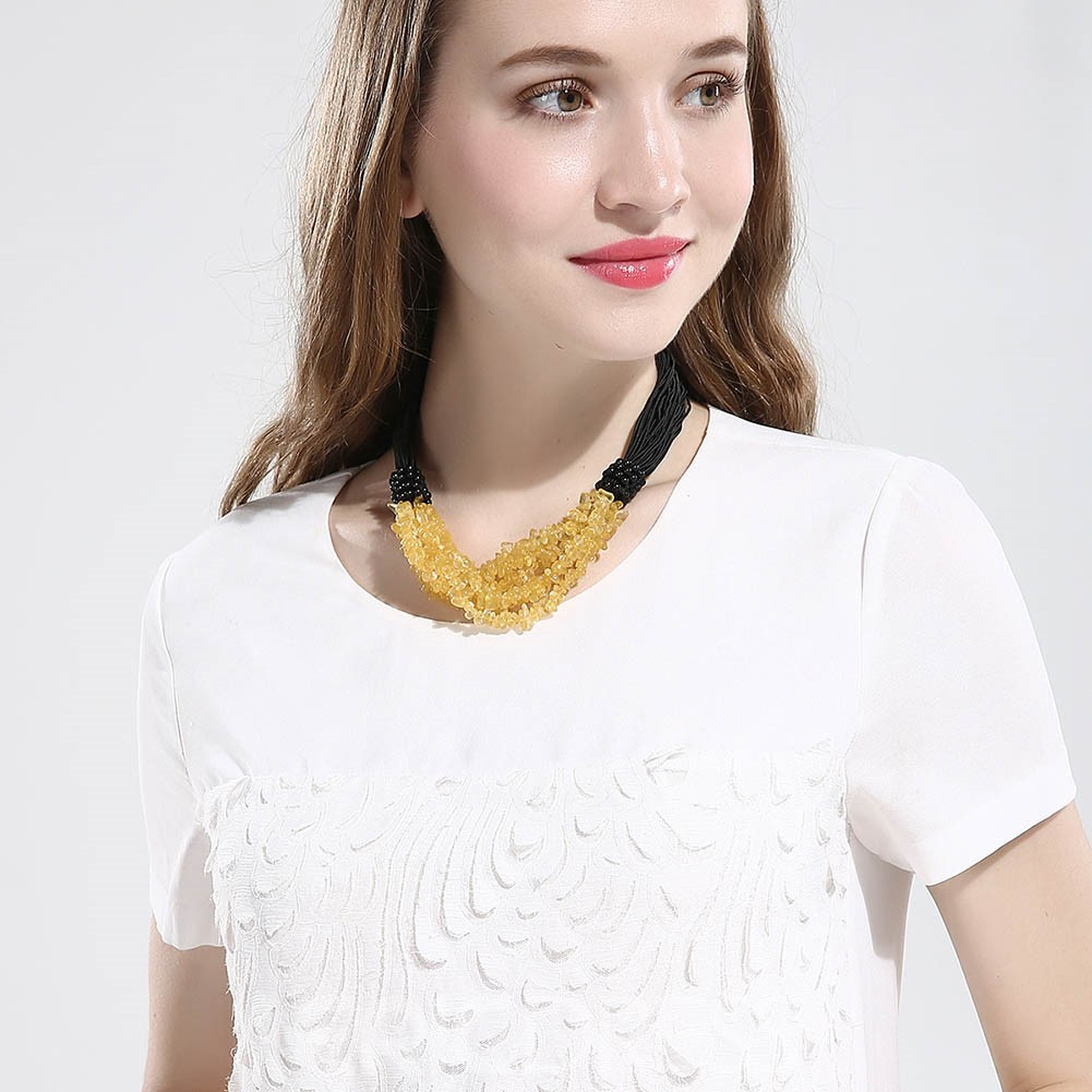Ericdress Retro Contrast Color Yellow Stone Charm Necklace